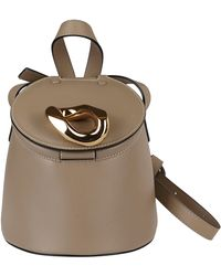 JW Anderson Taupe Leather Bucket Bag - Natural