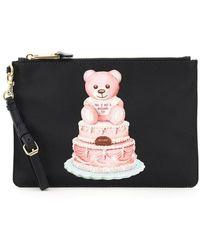 Moschino Cake Teddy Bear Logo Print Pouch - Black