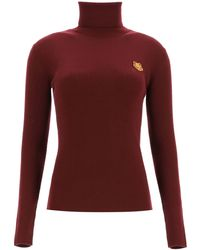 KENZO Turtleneck Jumper With Tigher Patch Xs Wool - Red