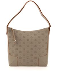 MCM Klara Large Hobo Bag In Monogram Leather - Grey