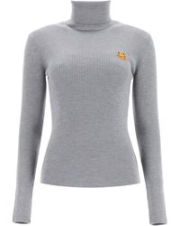 KENZO Turtleneck Jumper With Tigher Patch S Wool - Grey