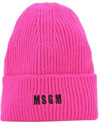 MSGM Embroidered Beanie - Pink