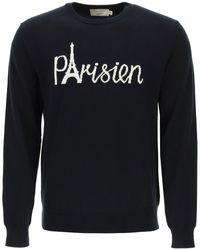 Maison Kitsuné Maison Kitsune Parisien Eiffel Tower Intarsia Sweater - Blue