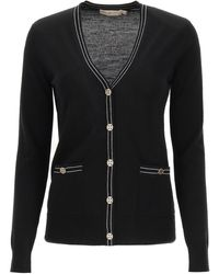 Tory Burch Madeline Cardigan With Logo Buttons - Black