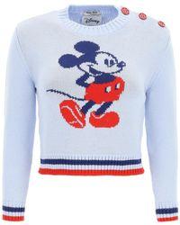 Miu Miu Mickey Mouse Intarsia Sweater - Blue