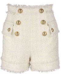 Balmain - High-waisted Tweed Shorts - Lyst
