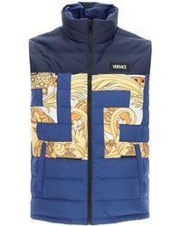 Versace Down Vest With Baroque Inserts - Blue