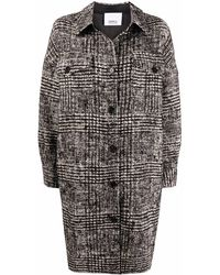 Erika Cavallini Semi Couture Button-front Tweed Knit Mid-length Coat - Black