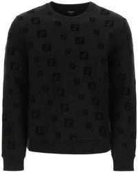 Fendi Crew Neck Sweatshirt Ff Logo - Black