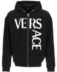 Versace Logo Print Hoodie - Black