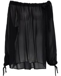 MSGM - Flared Viscose Blouse With Bow - Lyst