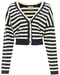KENZO Striped Cardigan With Tiger Patch Xs Cotton - Blue