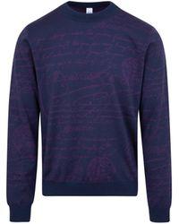 Berluti Wool Logo Sweater - Blue