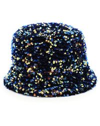 Maison Michel Axel Flora Sequined Bucket Hat - Blue