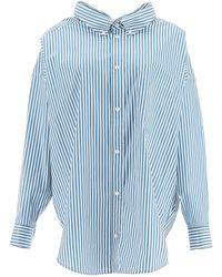 Balenciaga Maxi Swing Shirt With Logo - Blue