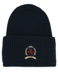 Tommy Hilfiger Tommy Classic Knit Hat With Logo Embroidery - Blue