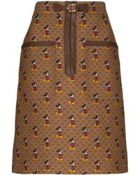 Gucci X Disney Mickey Monochrome Skirt - Brown