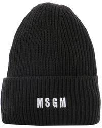 MSGM Embroidered Beanie - Black