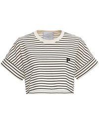 Philosophy Di Lorenzo Serafini Striped Jersey T-shirt With Logo - Black