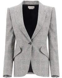 Alexander McQueen Single-breasted Prince Of Wales Blazer 42 Wool - Multicolour