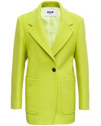MSGM Acid Wool Blazer - Green