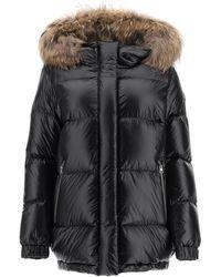 Woolrich Aliquippa Down Jacket With Murmasky Fur Xs Technical,fur - Black