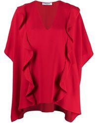 Valentino Ruffled Drape Blouse - Red