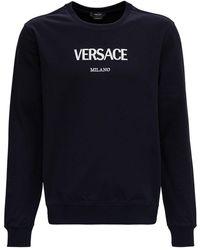 Versace Cotton Sweatshirt With Logo - Blue