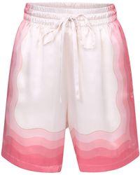 CASABLANCA Printed Silk Bermuda Shorts - Multicolour