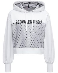 RED Valentino Cropped Hoodie In Jersey With Contrasting Print And Point D'esprit Insert - White