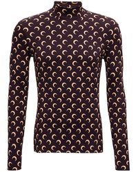 Marine Serre Moon Turtleneck In Stretch Recycled Fabric - Multicolour