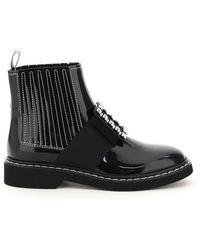 Roger Vivier Viv Rangers Jewel Buckle Boots - Black