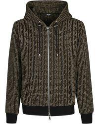 Balmain Black And Khaki Cotton Blend Sweatshirt