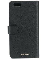 Prada Snap Fastening Phone Case 6 Plus - Black