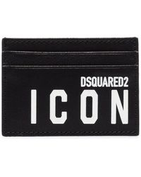 DSquared² Icon Logo-print Leather Card Holder - Black