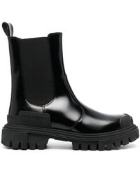 Dolce & Gabbana Chunky Sole Leather Ankle Boots - Black