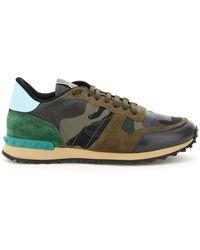 Valentino Garavani Camouflage Rockrunner Sneakers - Green