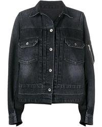 Sacai Bomber-detail Denim Jacket - Black