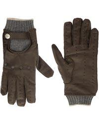 Brunello Cucinelli Leather And Cashmere Gloves - Multicolour
