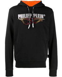 Philipp Plein Flames Printed Hoodie - Black