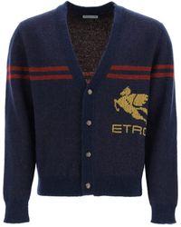 Etro Maxi Pegasus Cardigan - Blue