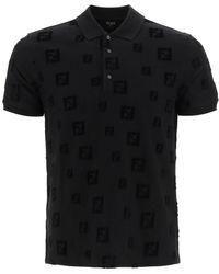 Fendi Chenille Polo Shirt Ff - Black