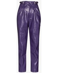 ROTATE BIRGER CHRISTENSEN Wilde Pants In Purple Leatheret