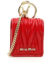 Miu Miu Matelasse Nappa Airpods Case - Red
