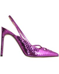 Giannico Leather Pump - Purple