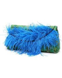 Dries Van Noten Brocade Clutch With Feathers - Green