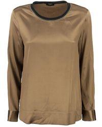 Peserico Long-sleeved Silk Blouse - Multicolour