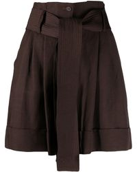 P.A.R.O.S.H. Belted Wide-leg Shorts - Brown