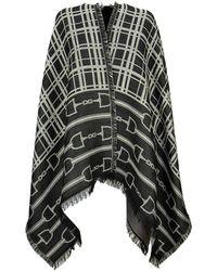 Elisabetta Franchi Monogram Pattern Cape - Black