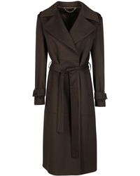 FEDERICA TOSI Army Green Virgin Wool-cahsmere Blend Trench Coat